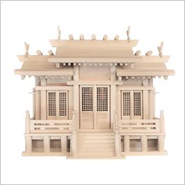 神棚 屋根違い三社 格子戸画像