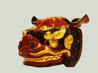 桐丸彫の本格獅子です